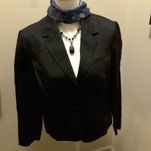 Coldwater Creek black jacket linen blend M 10-12
